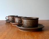 Three Vintage Arabia Finland Ruska Cups and Saucers