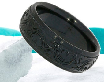 Black Zirconium Wedding Band Dome 9mm Promise Ring Anniversary Ring Commitment Comfort Fit Mens Womens Black Wedding Band FREE Engraving