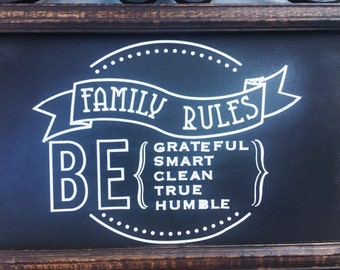 Family Rules - Be grateful - Be Humble - Be Honest - Be Clean - Be Kind - House Rules Signs - Family Rule Chart