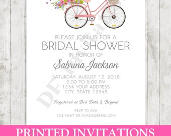 Bicycle wedding shower invitations etsy custom printed bicycle floral bridal shower invitation envelope included by dancing frog invitations filmwisefo Choice Image
