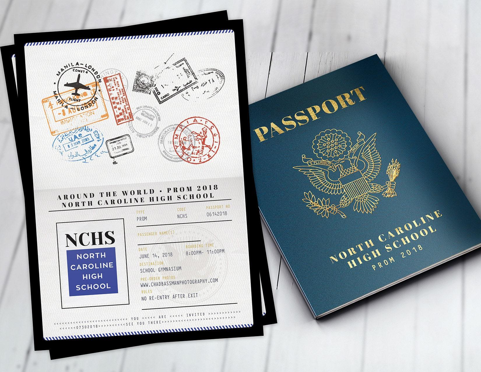 Homecoming invite prom Invitation Passport invitation graduation