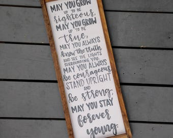 Forever Young Framed Wood Sign, Distressed Wood Sign for the Home, Nursery Decor, Bedroom Decor, Sign for Nursery or Child's Bedroom
