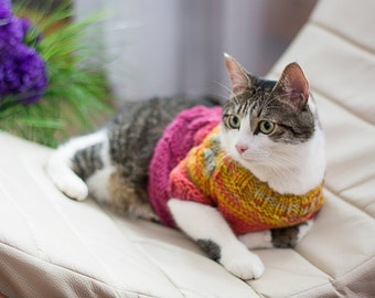 Cat Sweater Pink Yellow, Cat clothes, Pet hand knitted top, Clothes for cats, Gradient sweater, Handmade raspberry top, Warm pullover