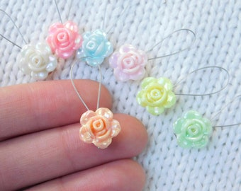 Pastel resin flower no snag stitch markers - set of 7