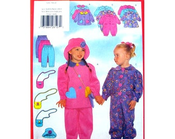 Girls Sewing Pattern Dress Top Jumpsuit Pants Hat Purse Pattern Butterick 5161 Toddler Size 1 2 3 4 Pattern