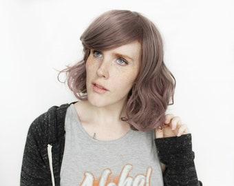 Short wig | Grey Pink wig, Gray wig | Curly wig, Short Wavy wig | Bob wig | Wildflower