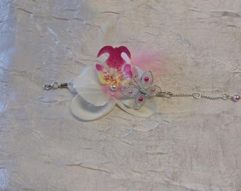 White Orchid wedding color bracelet / fuschia