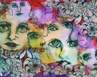 original art  alcohol ink and markers faces abstract wall decor 5x7