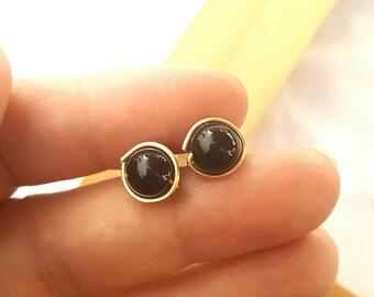 Stud earrings, onyx studs, black studs, handmade studs, studs, earings, minimalist studs