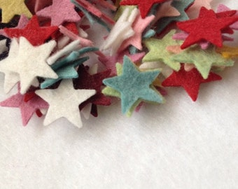"""50 Small 3/4"""" Wool Felt Stars (mixed only)"""