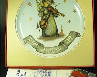 "1987 M.J.HUMMEL GOEBEL Christmas Plate ""Celestial Musician"" New! mib!"