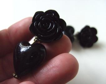 CLIP ON,Rose, earrings, love heart, dangle,lampwork glass,choose colour, black, white,by NewellsJewels on etsy
