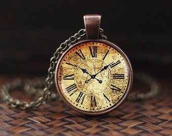Vintage map clock pendant, antique clock pendant, map pendant, antique clock necklace, vintage clock necklace, NOT REAL CLOCK