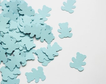 Baby blue confetti - Teddy bear album decor - blue baby shower decorations it's a boy birthday party table decor scrapbooking paper punches