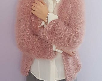 Handmade knitted faux fur cardigan / wedding wrap / capelet made by cozy angora, cotton and polyamid yarn. Available in many colors.