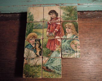 Antique Wooden Picture Blocks /  Lithograph Children's Blocks / Vintage Wood Toys