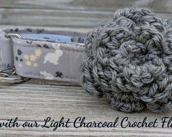 Light Charcoal Gray Crochet Flower Dog Collar Accessory