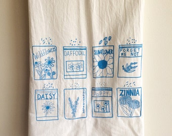 Flower Tea Towel, Screen Printed Flour Sack Towel