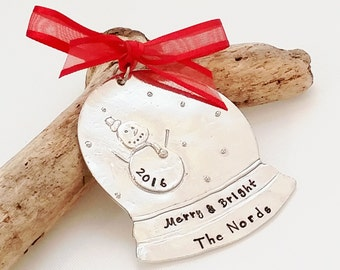 Personalized Christmas Tree Ornament - Snow Globe Ornament - Personalized Christmas Ornament - Family Ornament-Christmas Decor -Hand Stamped