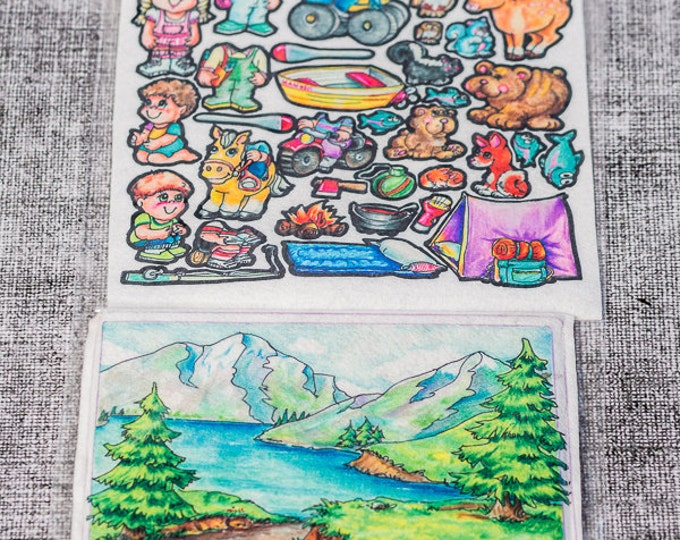 Flannel board set Mountain 10 in - story picture pocket, felt boards, felt board pieces, quite toy, flannel boards, quiet board