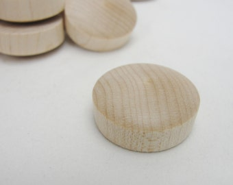 "1"" round head birch Button plug set of 12"