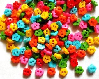 100 pcs  Mix colors Tiny cherry blossom flower buttons size 7 mm