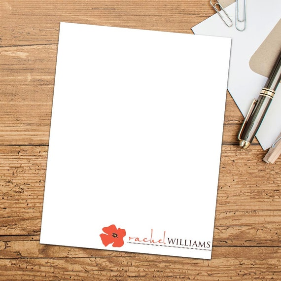 Pretty Poppy Personalized Flat Note Cards with Envelopes, Customized Note Cards, Set of Ten Cards Personalized with Envelopes
