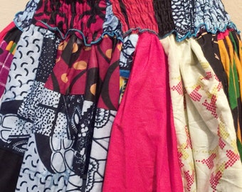 Heavy Thick African Patch Batik Knee Length Short Skirt I  (One of a kind)