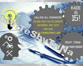 Engineering Birthday Invitation