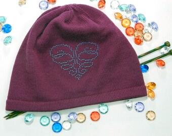 Women knit hat, women beanie, beanie hat, heart monogram hat, beaded hat, spring hat, gift for women, gift for girlfriend, cute women hat