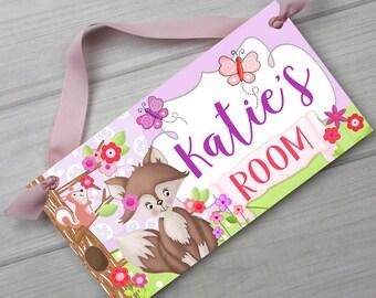 Lavendar Fox and Butterflies Woodland Forest Woods Girls Bedroom Baby Nursery DOOR SIGN Wall Art