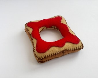 Handmade felt toast with jam coaster