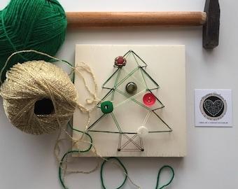 Christmas Tree kit in string art, Christmas DIY string art kit, Easy tutorial in string art