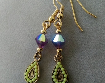 Swarovski Amethyst Crystal and Gold Drop Earrings
