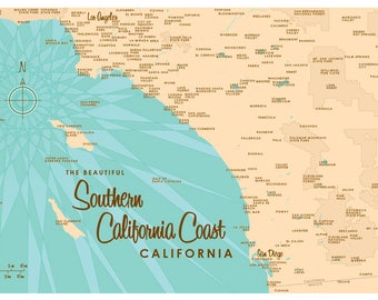 Southern California Coast Map Print