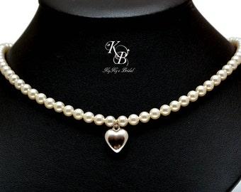 Heart Jewelry Puffed Heart Necklace Bridal Necklace Wedding Jewelry Heart Pendant Necklace Pearl Bridal Jewelry FREE Gift Box