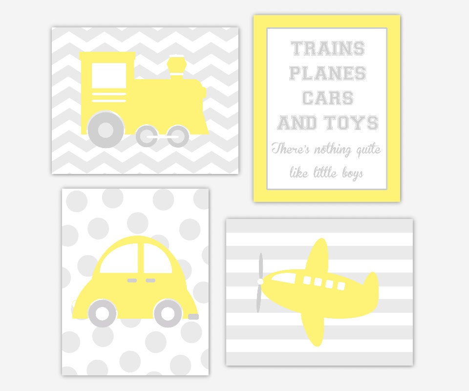 Baby Boy Nursery Wall Art Yellow Gray Transportation Boys Room