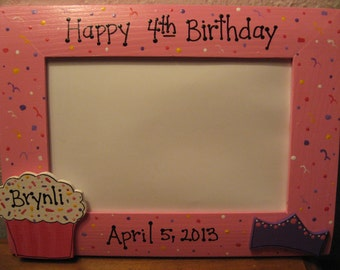 Personalized Birthday Frame, Happy Birthday, Girl Pink Boy Blue hand painted photo frame