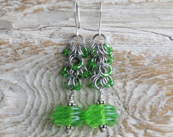 Handmade Glass Lampwork Swirl Bead and Shaggy Loops Chainmaille earrings - Lime Green