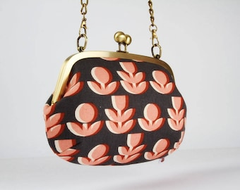 Metal frame purse with shoulder strap - Retro flowers in gray and peach - Swing purse / Japanese fabric / Ellen Baker / Paint