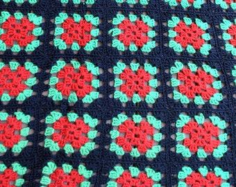 Granny Square Style Wool Afghan - Red Green and Black