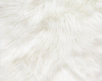 """Shaggy White Long Pile Faux Fur Fabric By The Yard 60"""" Wide"""