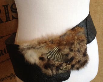 1980's belt, leather fur belt