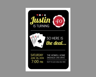 Casino Theme Party Las Vegas Bachelorette Party Invitation
