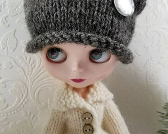 Alpaca & Wool Hand Knit Hat for Blythe Doll, With Removable Pinback Button, Grey Tweed