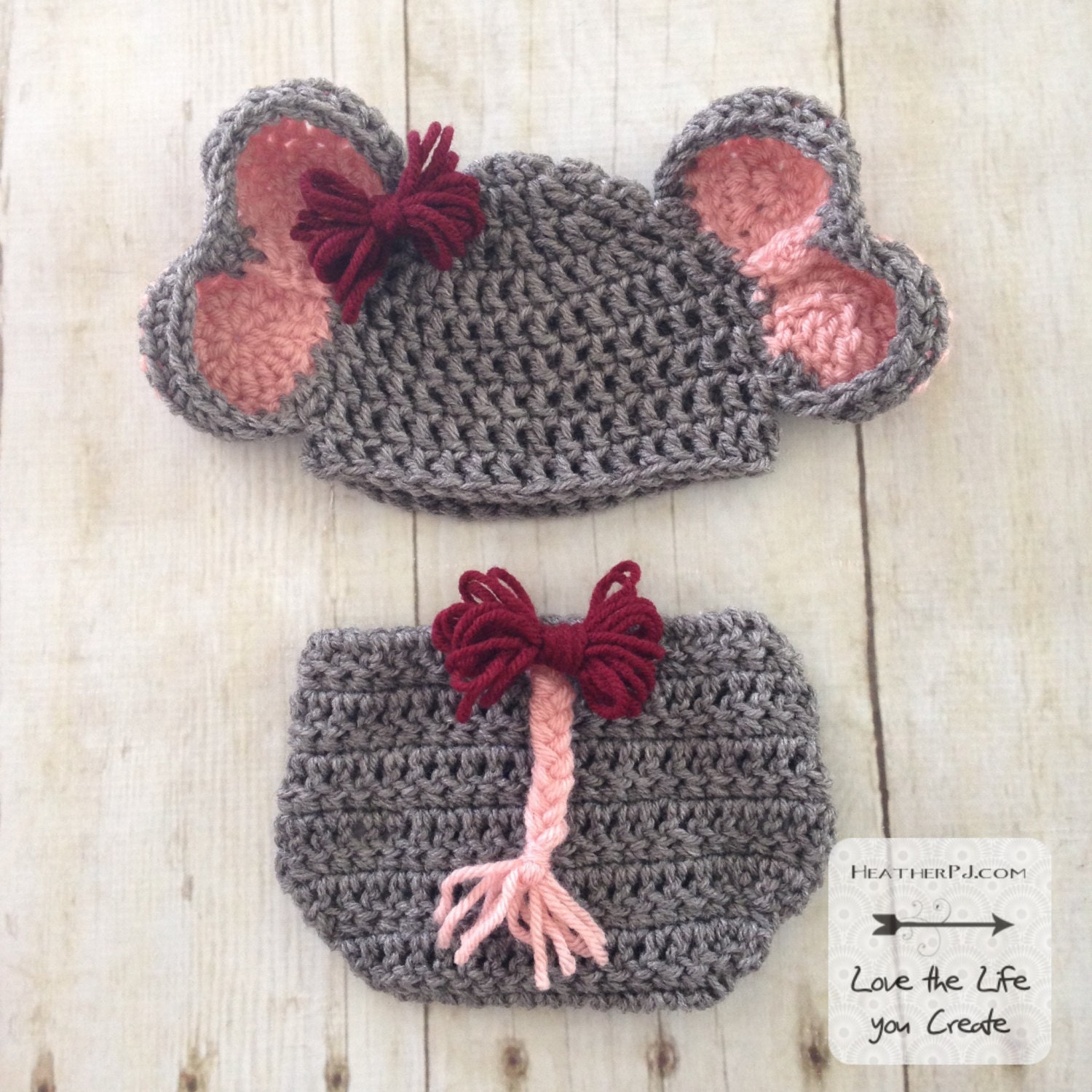 PATTERN Elephant Hat and Diaper Cover with Tail for Newborn. Instant ...