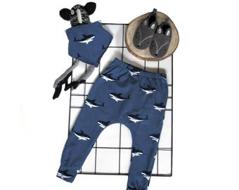 baby harem trousers shark jeans blue , choose your size