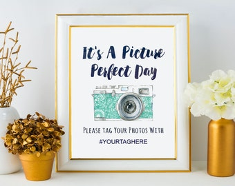 Wedding Hashtag Template // Blue Watercolor Camera Printable // Instagram Sign // Picture Perfect Day Instant Download // Social Media Tag