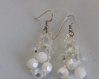 Handcrafted White and  Crystal AB  Swarovski Crystal Glass Sterling Silver Pierced Earrings