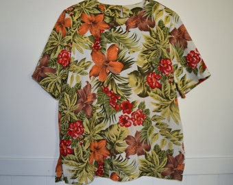 Vintage Tropical Floral Print Short sleeve top Made in Australia Size 10